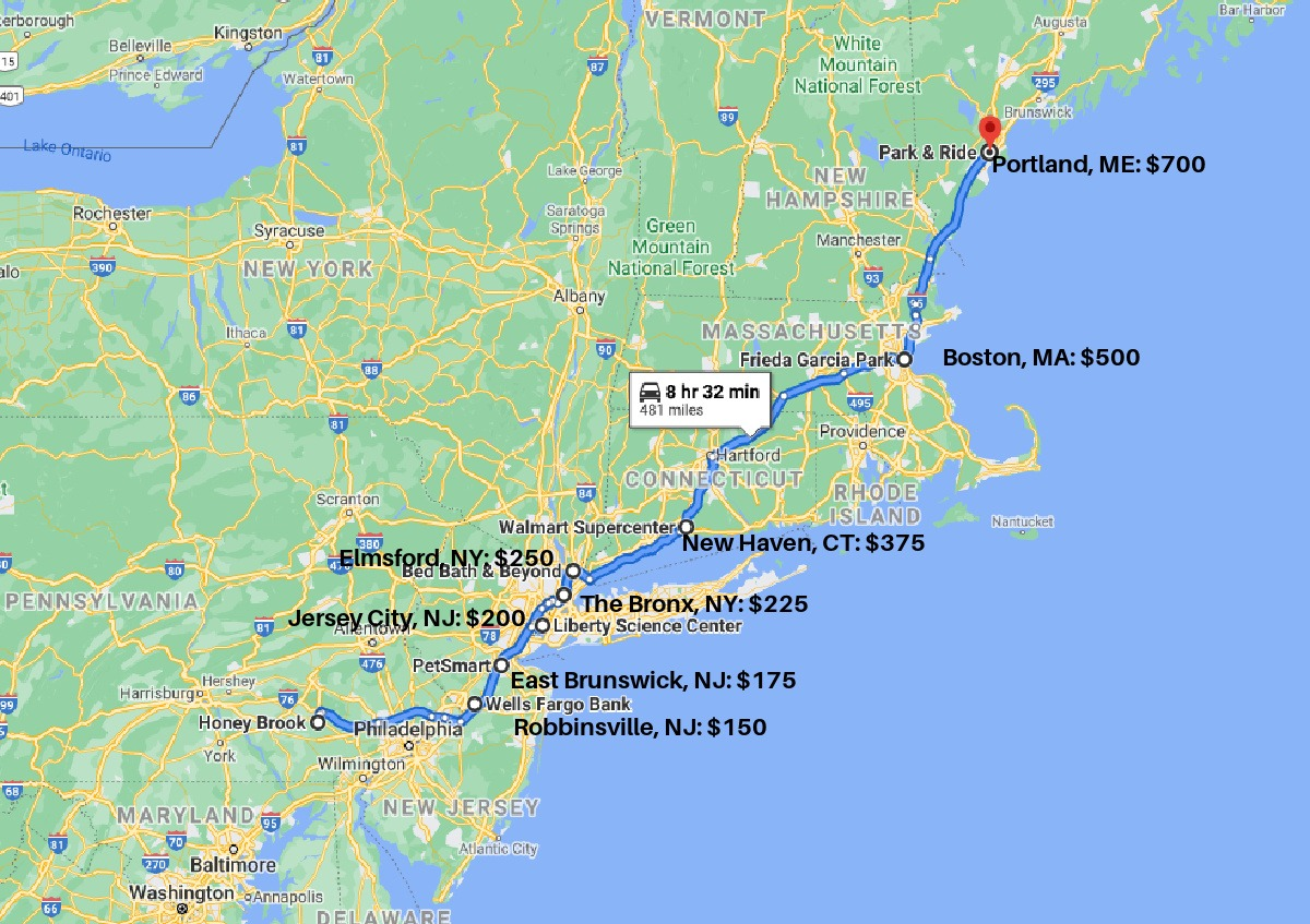Northeast Rt Map With Pricing.