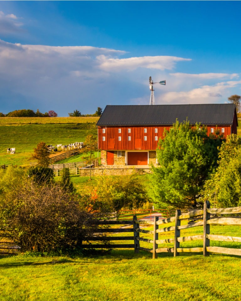 Red barn on a farm in York PA.