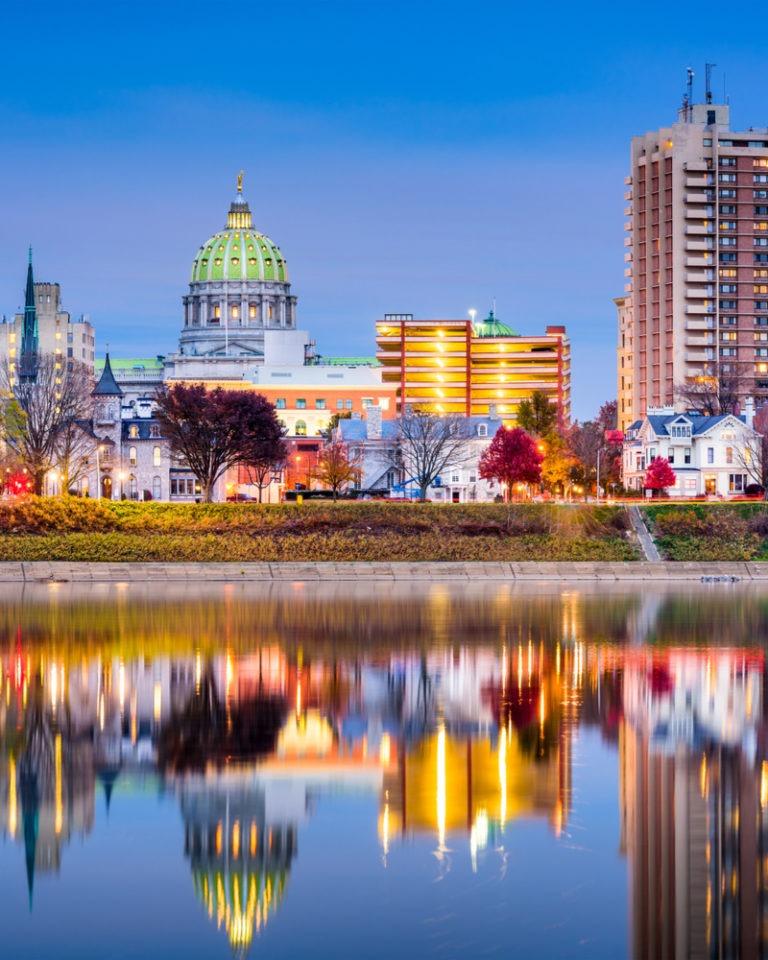 Cityscape of Harrisburg PA.